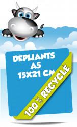 Dépliants 15x21 (A5). Papier 100% recyclé