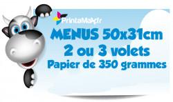 Menus 50x31 cm. 2 ou 3 volets. Papier de 350 grammes