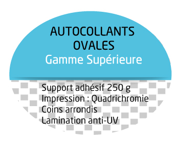 Autocollants et stickers ovales personnalise usage for Stickers exterieur personnalise