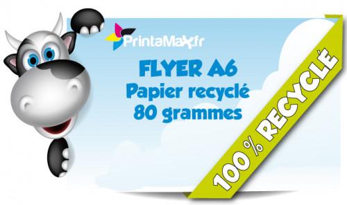 Flyers format A6. Impression sur papier recycle