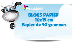 Blocs papier 10x15 cm. Papier de 90 grammes. Impression couleur