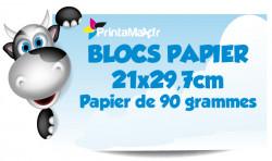 Blocs papier 21x29,7 cm. Papier de 90 grammes. Impression couleur
