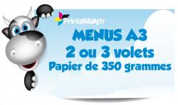 Menus A3 (30x42 cm). 2 ou 3 volets. Papier de 350 grammes