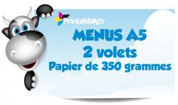 Menus A5 (15x21 cm). 2 volets. Papier de 350 grammes