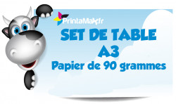 Set de table A3. Impression recto. Papier de 90 grammes