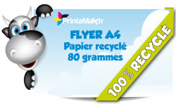 Flyer format A4 (21x29,7 cm). Impression sur papier recycle