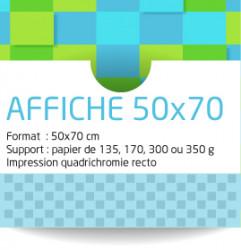 Affiches 50x70 cm. Papier de 135 grammes. Impression couleur recto