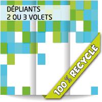 Dépliant A4 (21x29,7cm) 2 ou 3 volets. Papier recyclé.