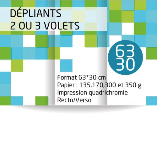 Dépliants 63x30 cm. Papier de 170 grammes mat ou brillant