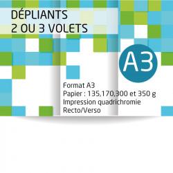 Dépliants A3 (29,7x42 cm). Papier de 135 grammes brillant