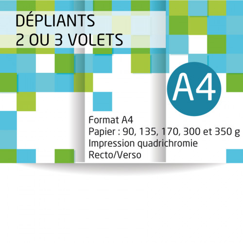 Dépliants A4 (21x29,7 cm). Papier de 135 grammes brillant